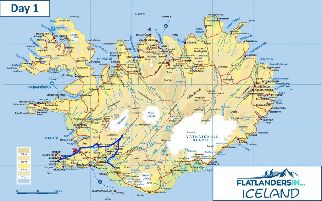 Flatlanders In - Day 1 Driving Route In Iceland