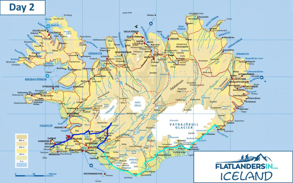 Flatlanders In - Day 2 Driving Route In Iceland