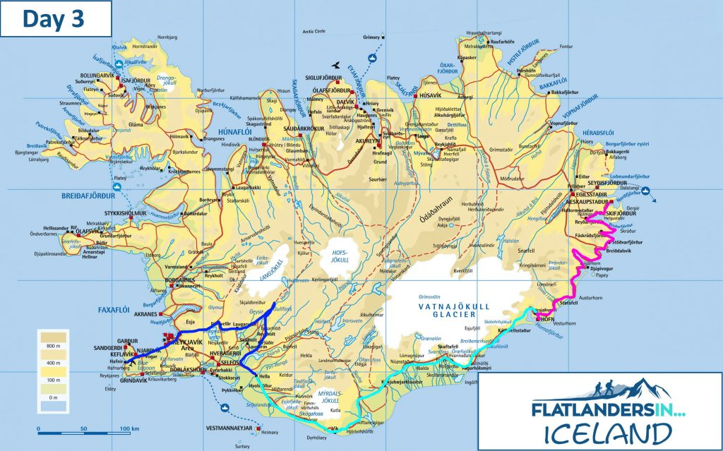 Flatlanders In - Day 3 Driving Route In Iceland