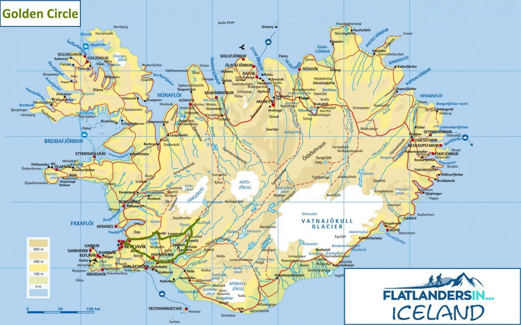 A map of the Golden Circle route in Iceland