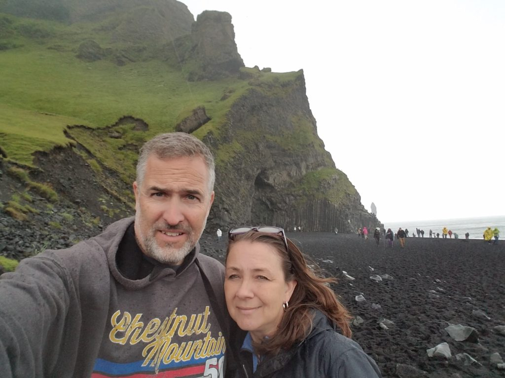 Our stop at the black sand beach of Reynisfjara was short because of crowds and rain