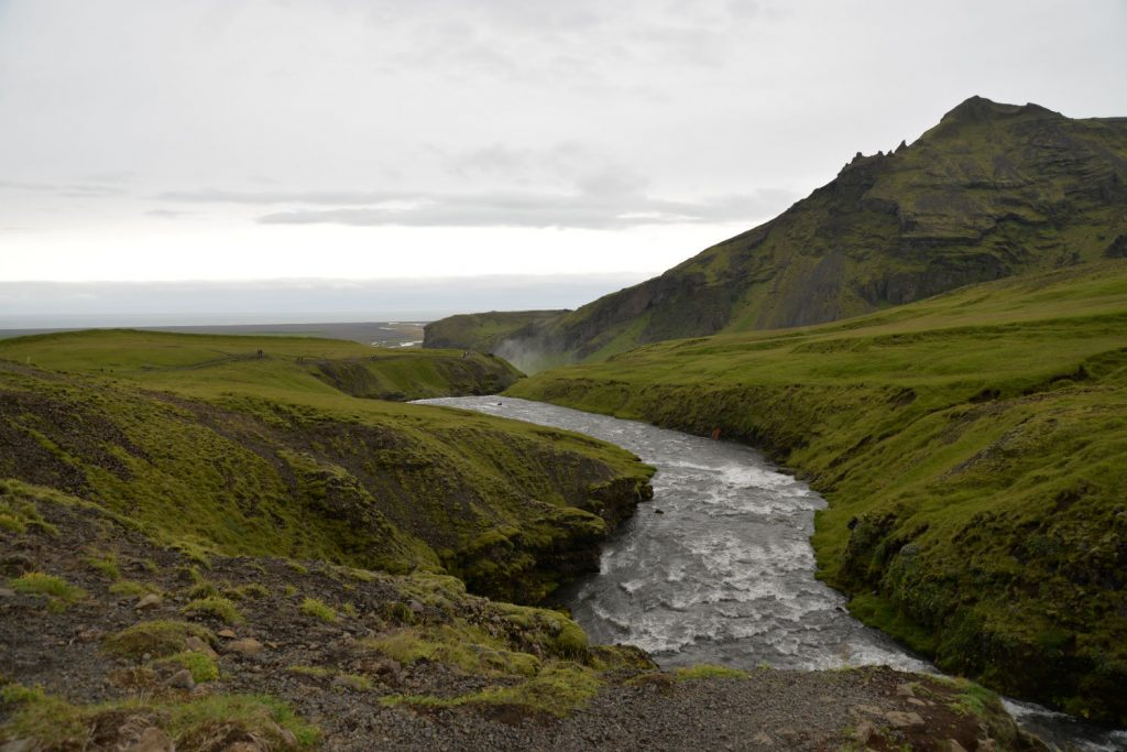 The view of the river feeding the Skogafoss waterfall