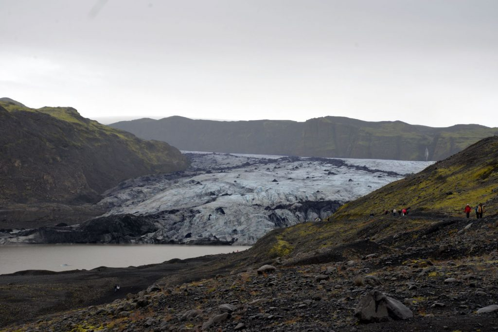 The Solheimajokull glacier in Iceland is easily accessible by a short hike