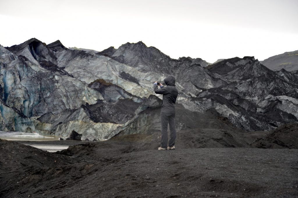 The color contrasts at the Solheimajokull glacier in Iceland are stunning