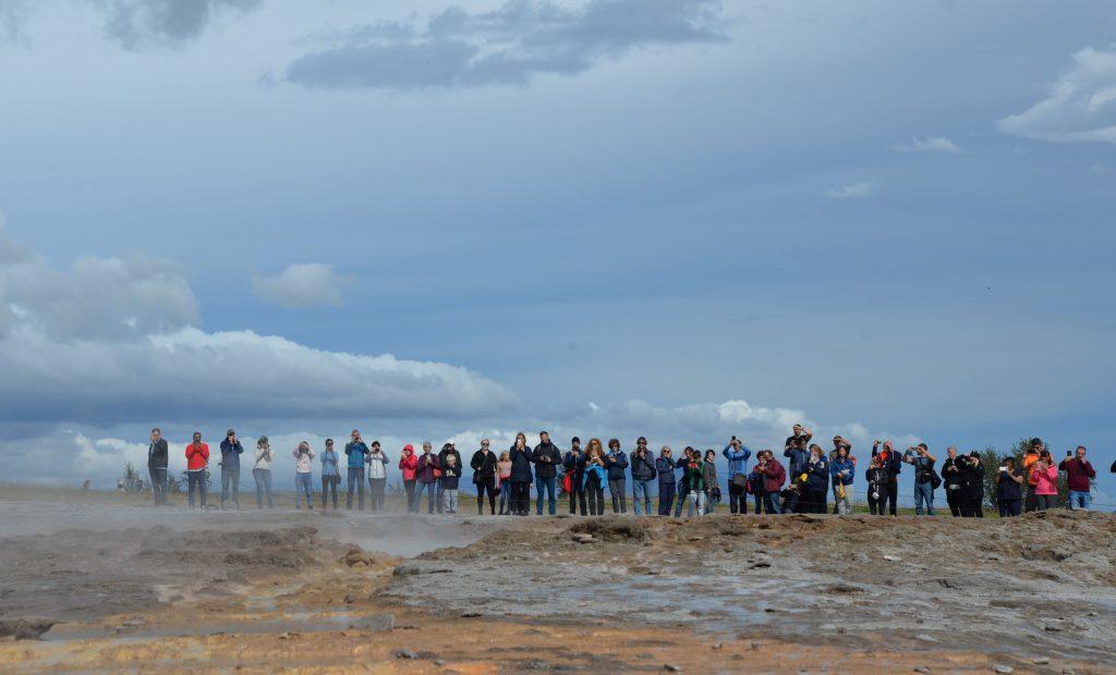 Patiently waiting for Strokkur geyser to erupt