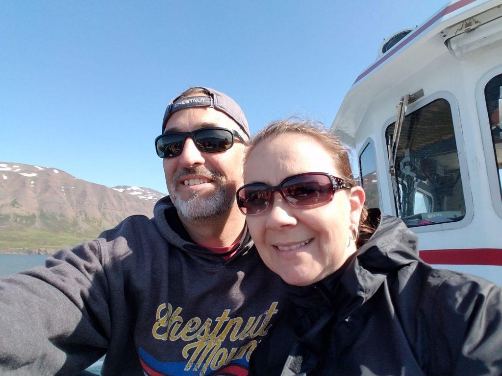 Deb and Sean enjoying a beautiful day whale watching in Akureyri Iceland