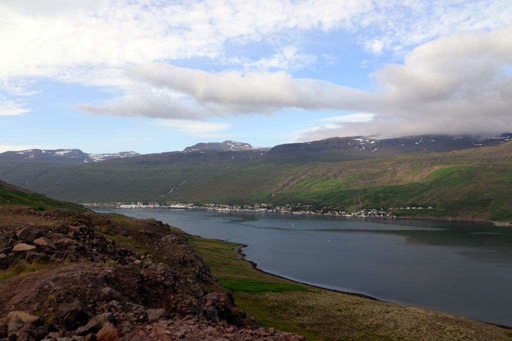 The hills above Stodvarfjordur give a postcard-perfect view of the town