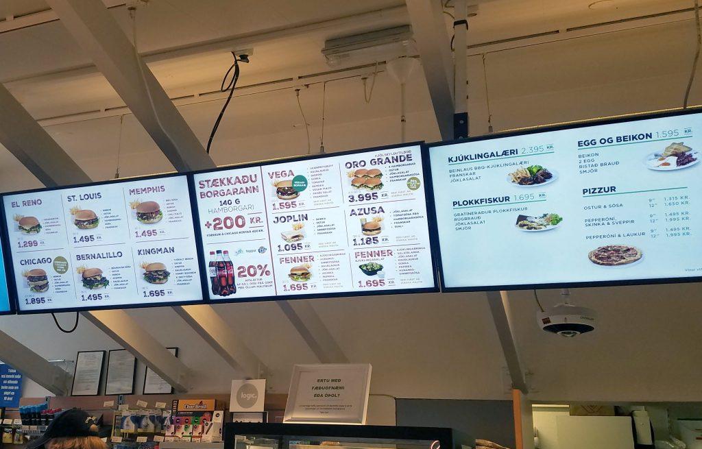 Gas station menu board at 66 Olis in Neskaupstadur Iceland