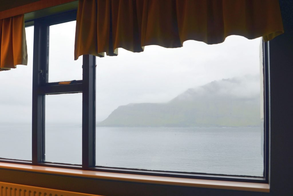 The view of the fjord and the cliffs from our room at the Cliff Hotel in Neskaupstadur was beautiful