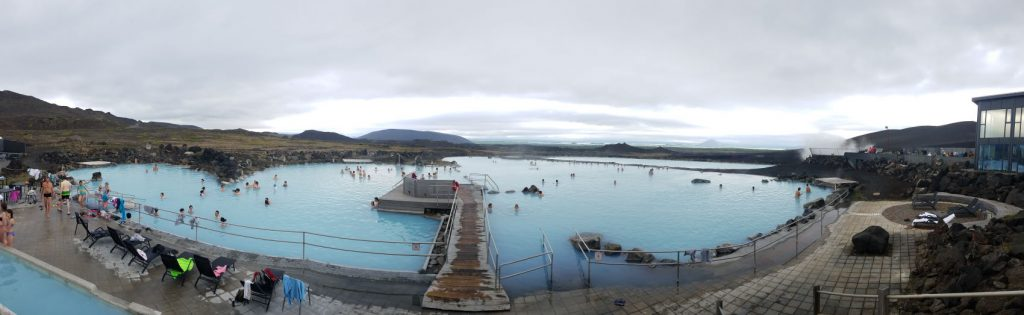 This panoramic view of the mineral baths at Myvatn should show you that these are large facilities