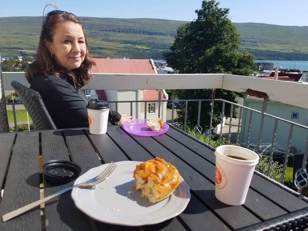 Breakfast on the outdoor patio in Akureyi was definitely the right choice