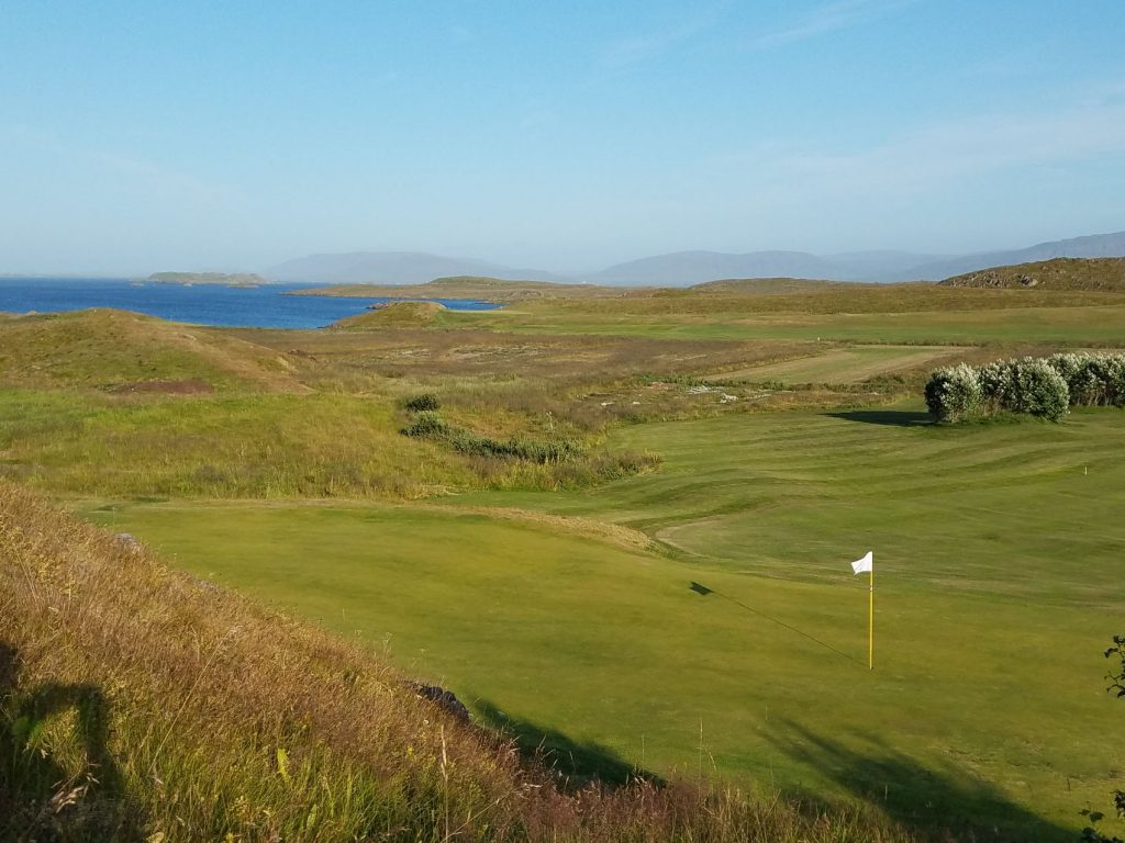 The Foss hotel in Stykkisholmur Iceland overlooks a very beautiful golf course on the ocean