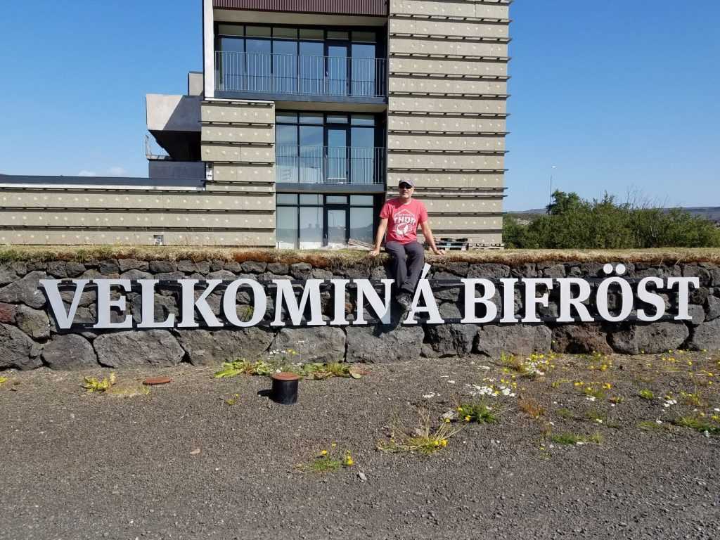 Sean at the Bifrost in Iceland