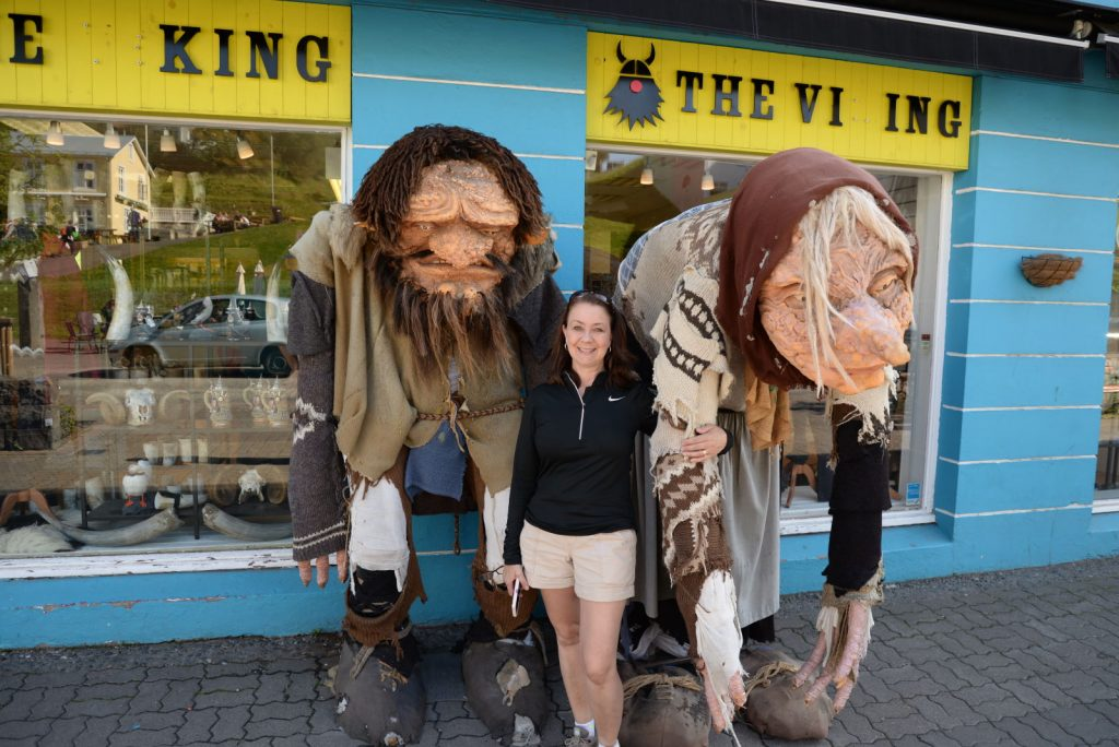 In downtown Akureyri, Deb made friends with some of the local trolls