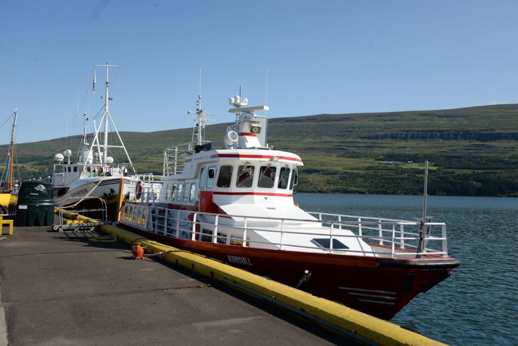 The ship we chose for our whale watching adventure with Elding tours in Akureyri